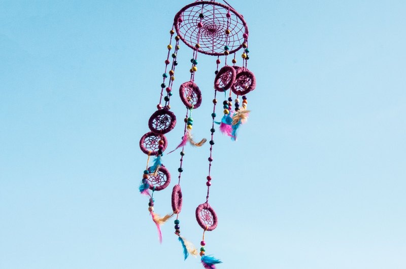 Hand-woven cotton and linen rainbow dream catcher Boho wool line feather dream catcher - purple rotating ladder