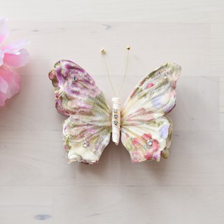 Butterfly Hairpin Beige Flower