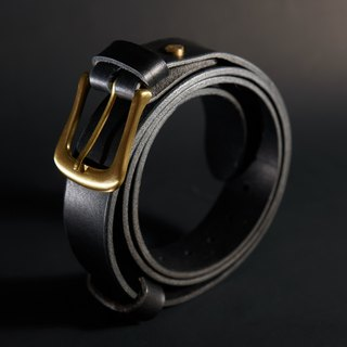 Genuine leather handmade male models - Italy tanned saddle leather belt - gentleman black