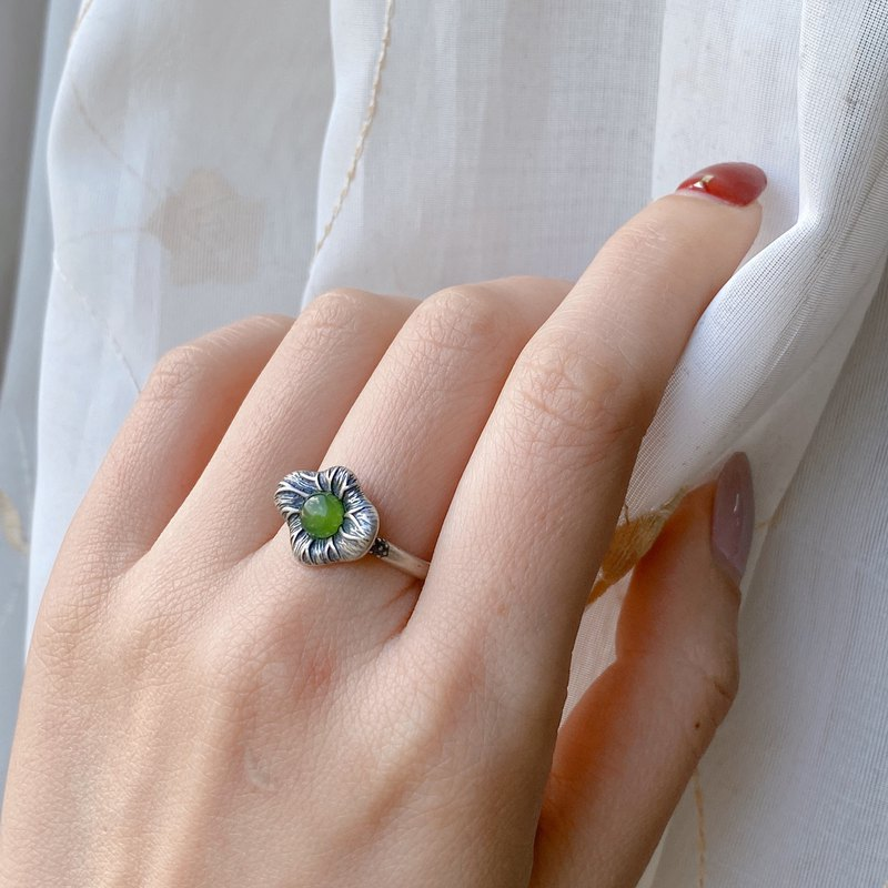 Emerald gift. Jadeite-Natural and Sapphire Flower Shape Sterling Silver Ring