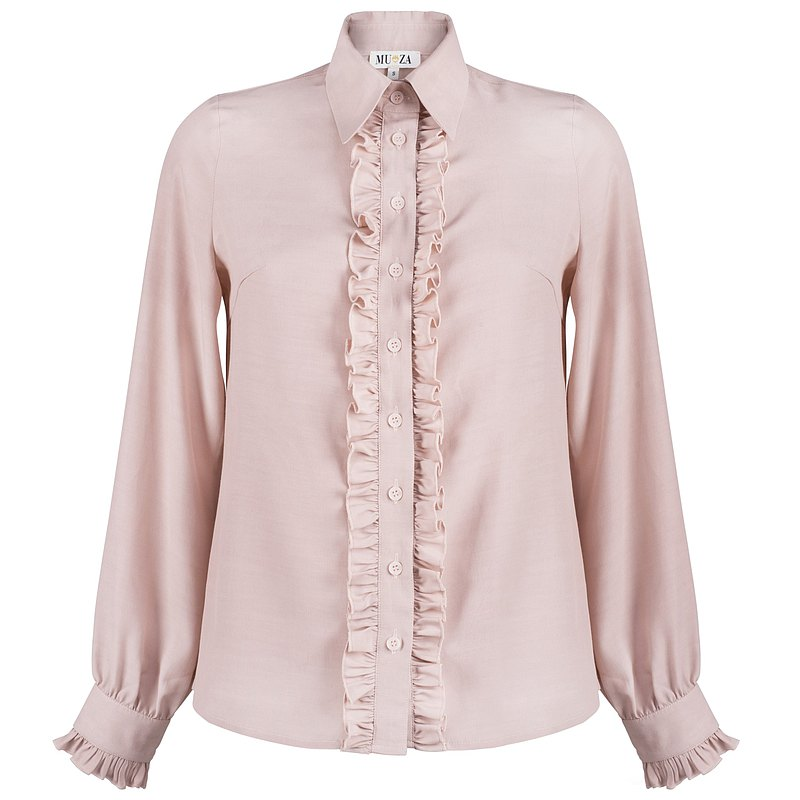 Pink ruffled button down work blouse