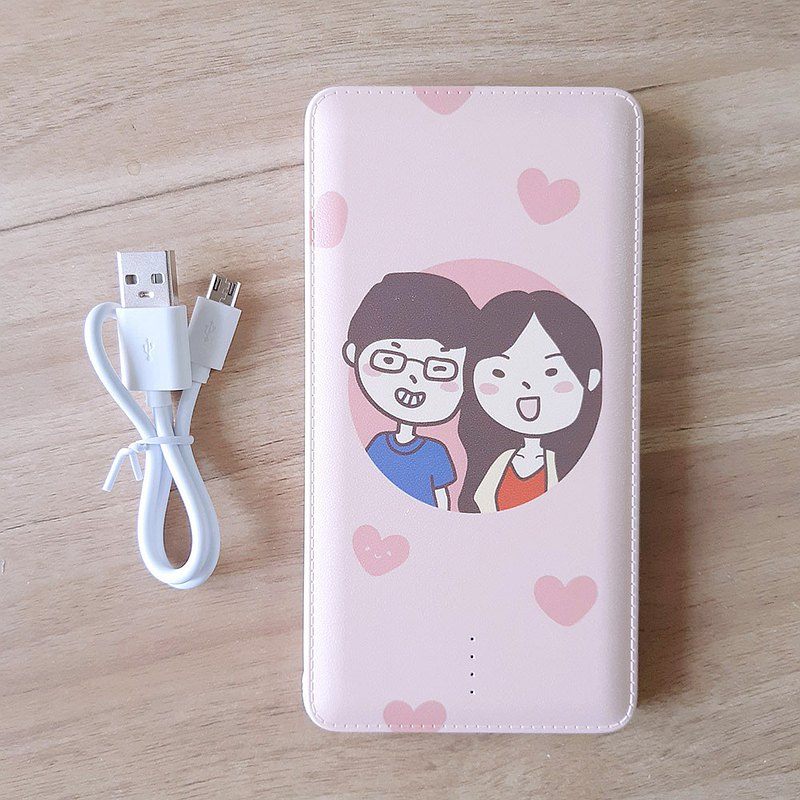 Customized hand-painted Q version mobile power double-sided faux leather pattern 10000mAh made in Taiwan