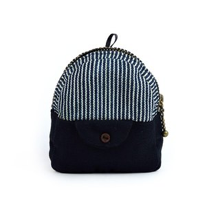 Mini backpack hand sewing purse (blue stripes)