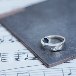 Sapphire Music note sixteenth note ring silver 925