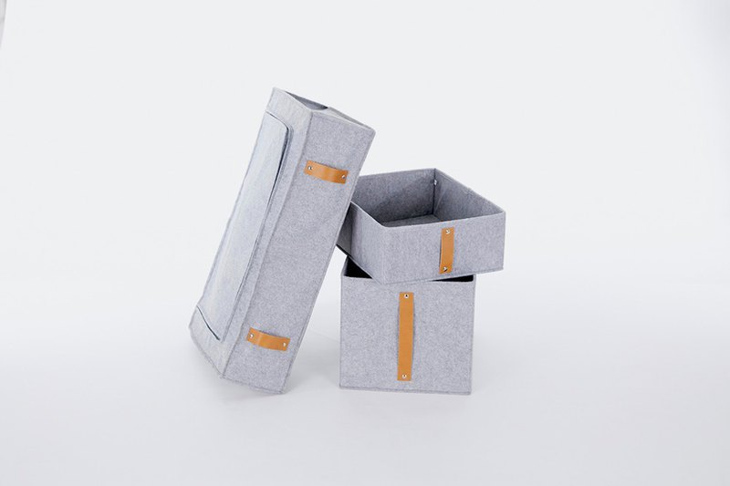 [Storage Box Discount Combination] Wool Felt Storage Box 14cm Box + 28cm Box + Zipper Bag