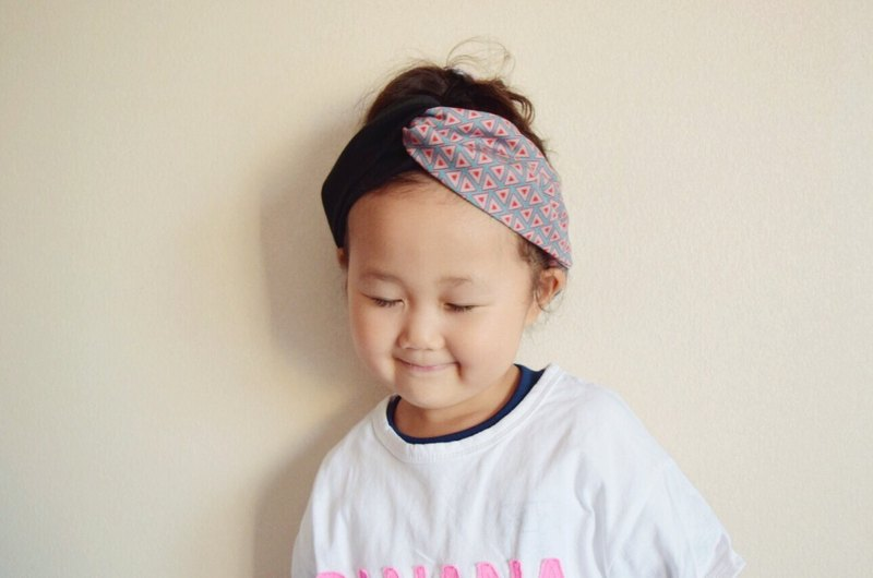 KIDS Triangle pattern x black or navy hairband