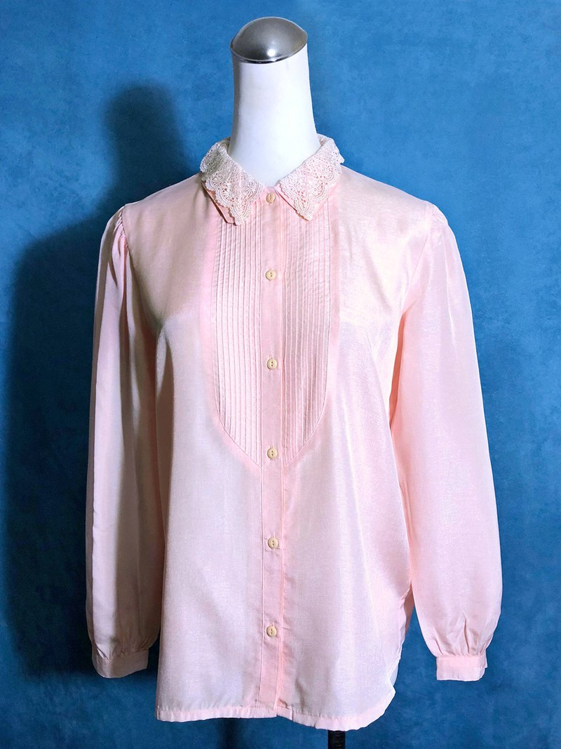 Double-layer collar long-sleeved vintage shirt / brought back to VINTAGE abroad