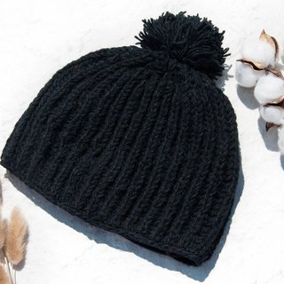Hand-knitted pure wool cap / knit cap / knitted cap / inner brush hair hand-woven wool cap / wool cap - black