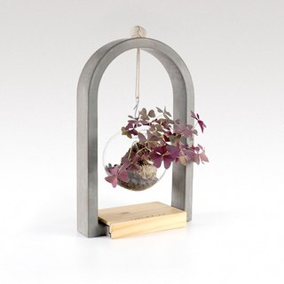 Cement arch hanging bottle flower