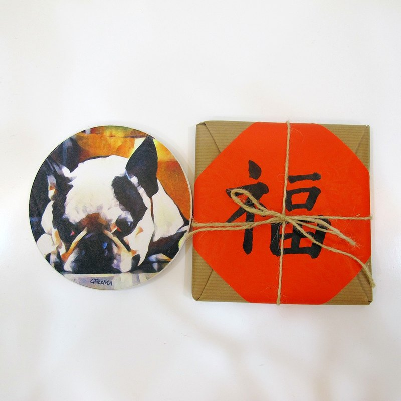 Oil painting style ceramic drinking coasters - Fight Bingo - 旺福