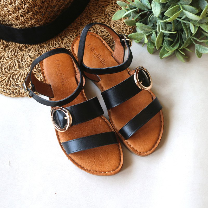 [Slightly Bourbon] Full Leather Sandals-Temperament Black