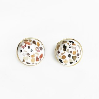 [Grindstone] reunion - white Terrazzo brass clip earrings