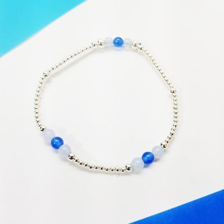 [ColorDay] Hi Zizi small stone ~ light blue agate _ deep blue agate _ silver elastic necklace (Blue Agate Silver Bracelet _ ブ ル ー ア ー ト)