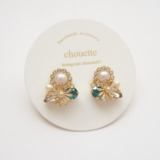【14kgf】flower bijou pierce royalgreen