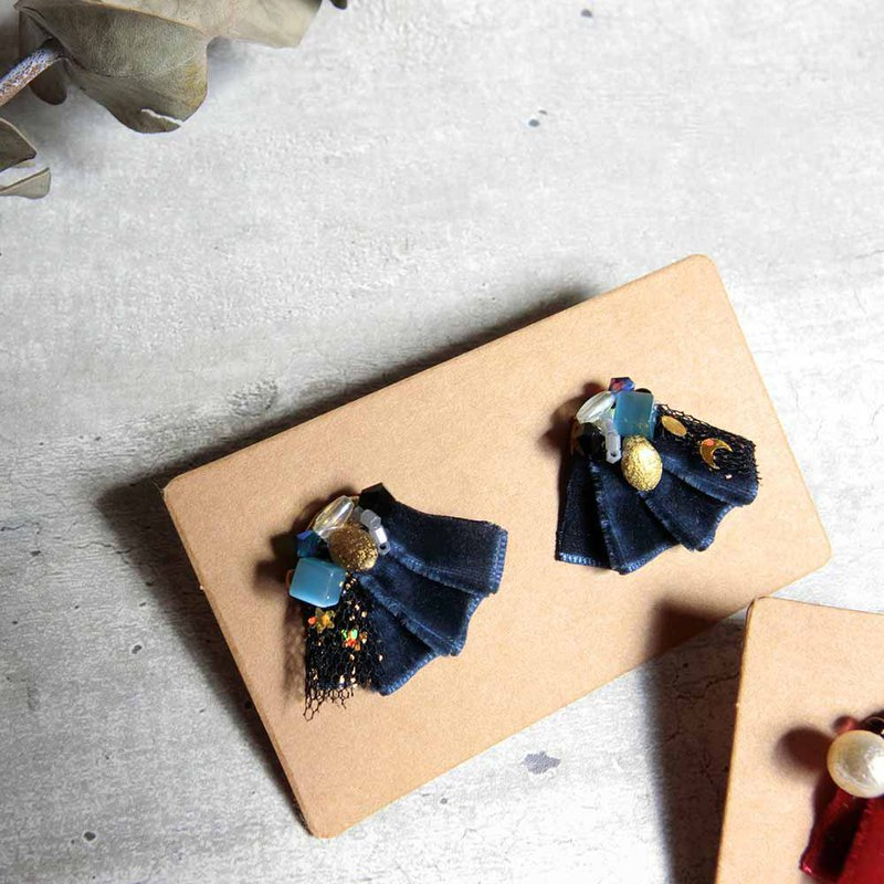 Velvet blue handmade earrings
