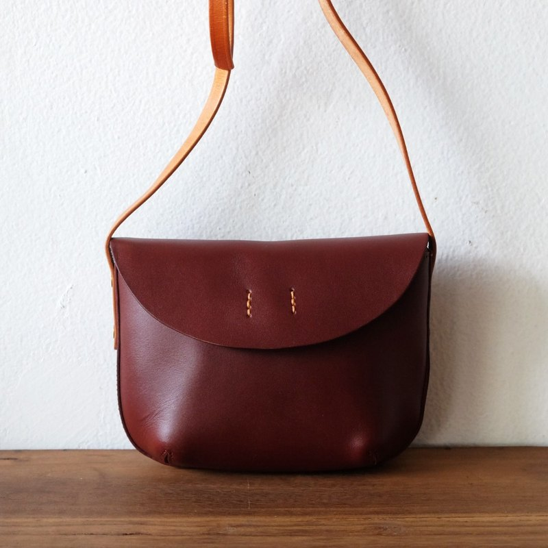 Small Retro Curve Leather Shoulder Bag / Red Wine Handmade Leather Handbag