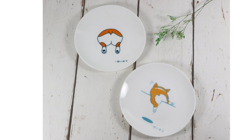 "Corgi ass bone china plate 6.5 inch dim sum plate collaboration illustrator ""a small house"" works"