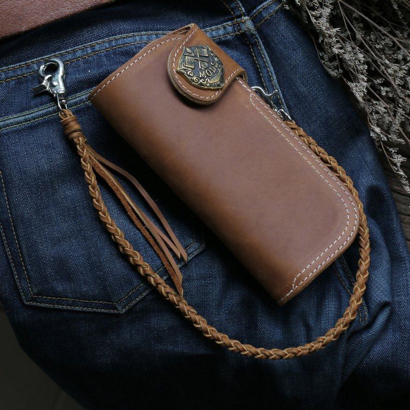 Biker long Wallet chain ring Genuine Leather Brown mods vespa lambretta scooter