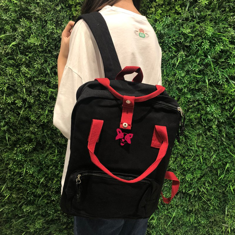 Tongue spit I am a gold base - texture black red hard post backpack