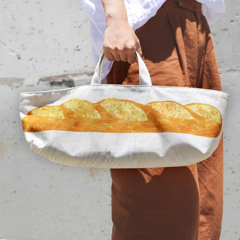 French bread canvas tote bag