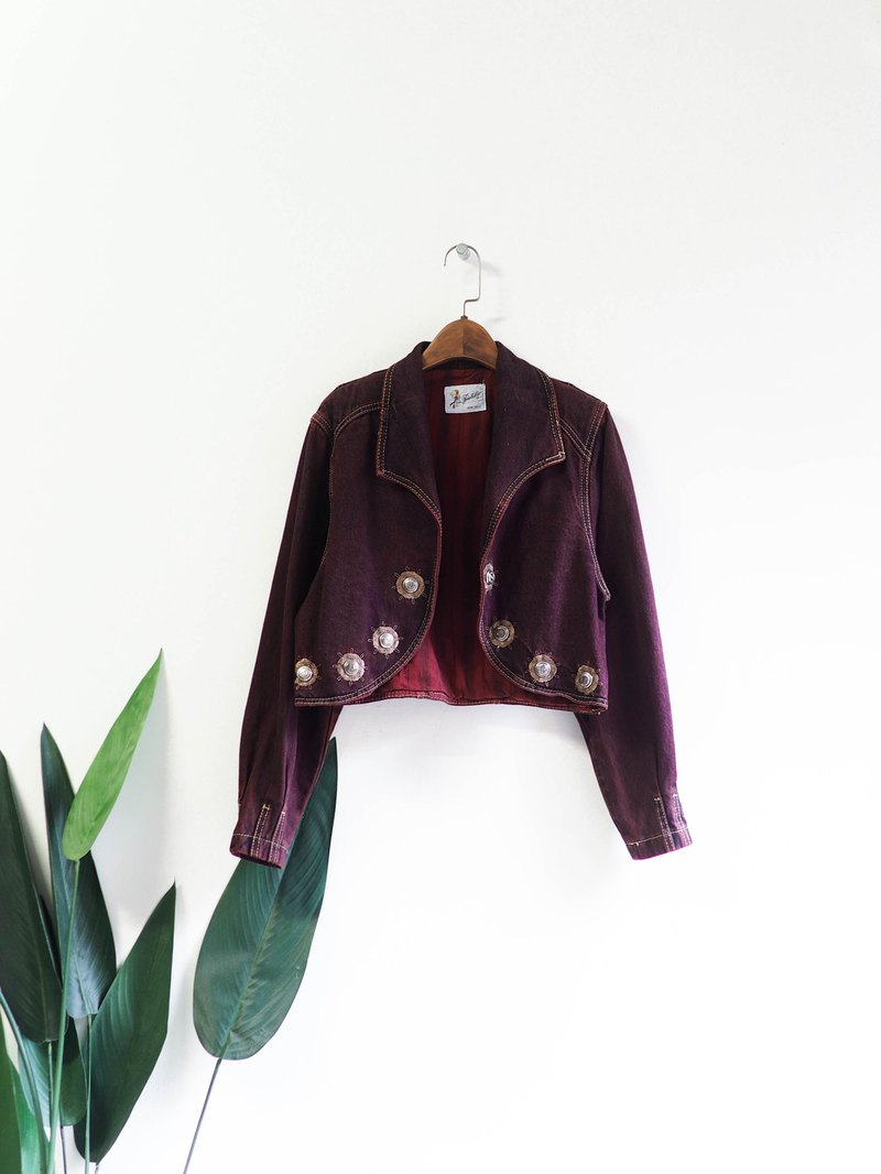 Purple Red Baroque Court Embroidery Unique Inlay Antique Cotton Denim Short Denim Jacket Vintage