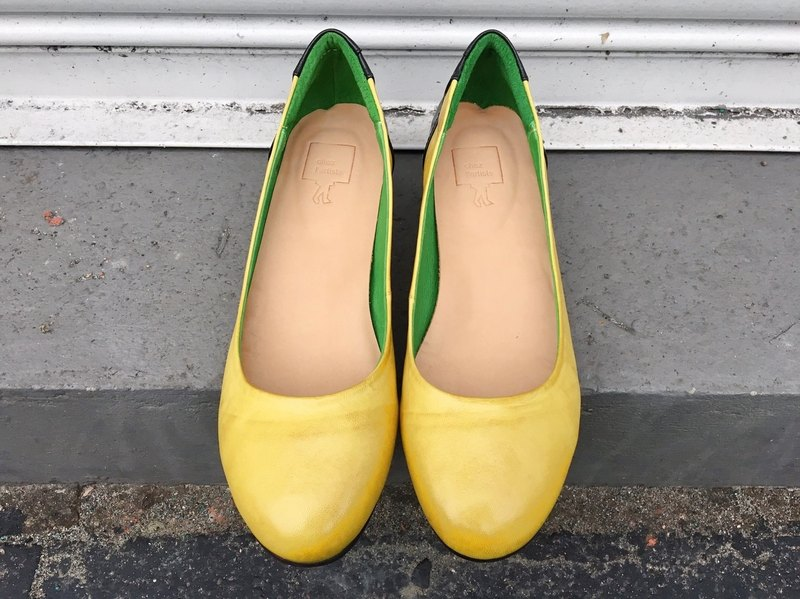 Painting # 8035 || lambskin cotton candy low heels orange flower yellow ||