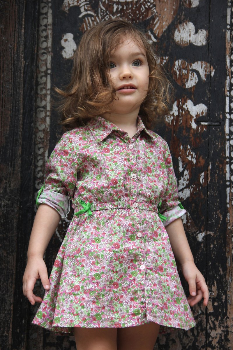 Floral print pink toddler dress