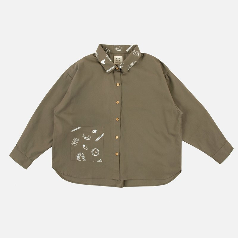 Primary school print stitching loose shirt