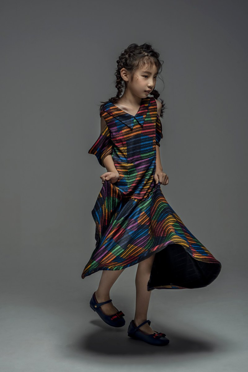 Rainbow Stripe Dress with Cold Shoulder / FW2019