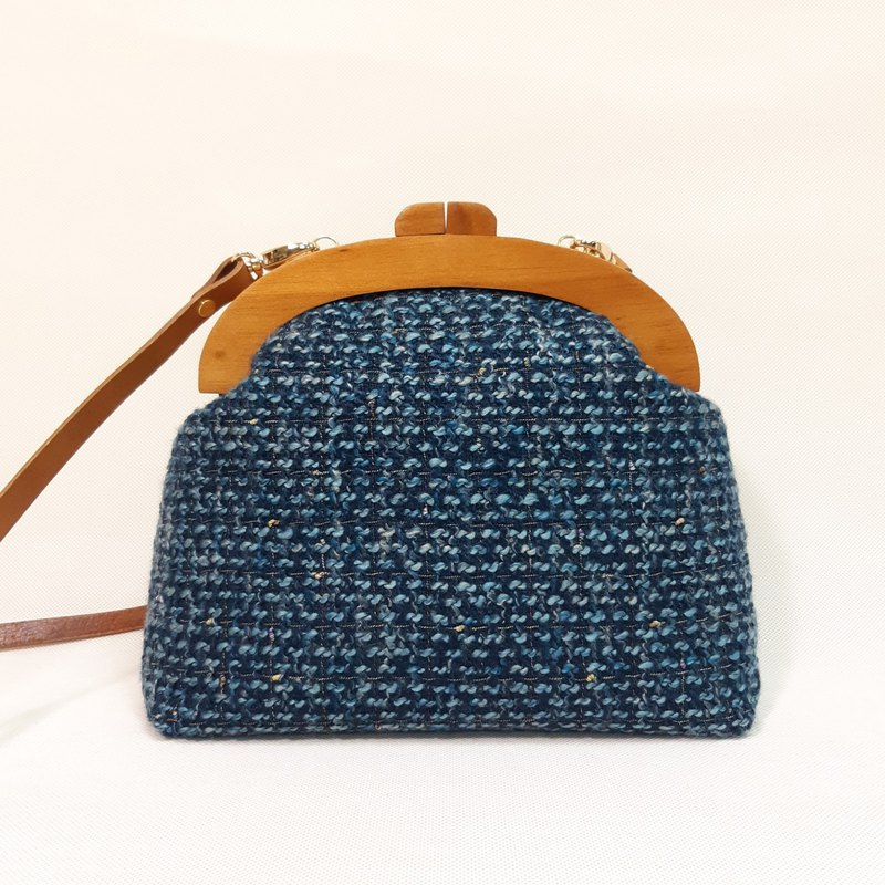Bright blue wool solid wood gold bag / cross-body bag / side backpack / carry-on bag