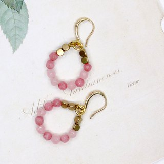 [Riitta] Pink Circle Chalcedony Earrings (Ear Clip)