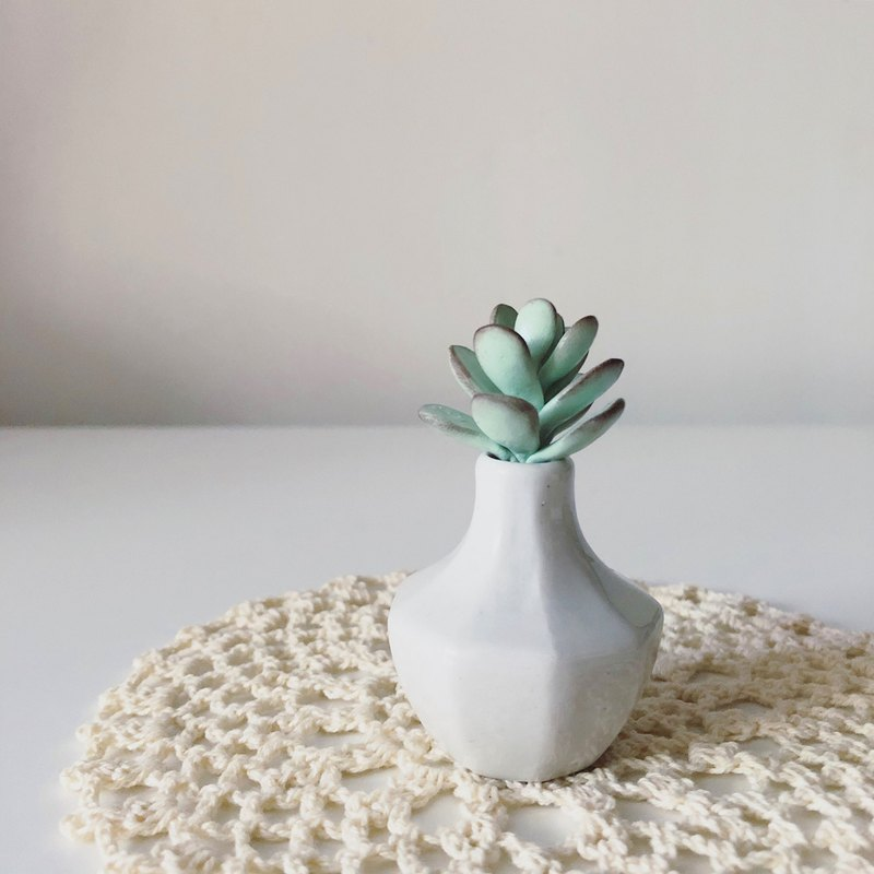 Fu Niang. Simulation clay succulents _ white porcelain cut angle bottle