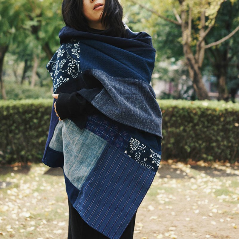 Blue patchwork personality blue clip Val large scarf blue indigo plant dyed hand-woven men and women unisex patchwork shawl