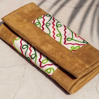 Leather long clip wallet wallet woven wallet - Indian desert ethnic style suede leather wallet