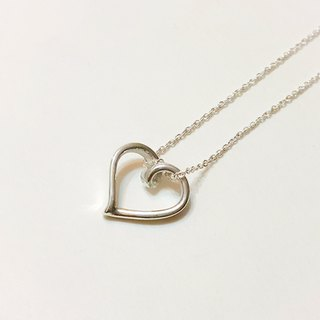 Love Silver Necklace (one cardiac line) / pure handmade / Christmas / Mother's Day / Valentine's Day / clavicle chain / gift / anniversary