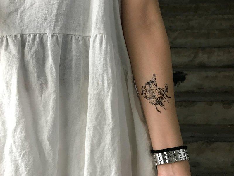 cottontatt 派對動物 長頸鹿 手繪 紋身貼紙