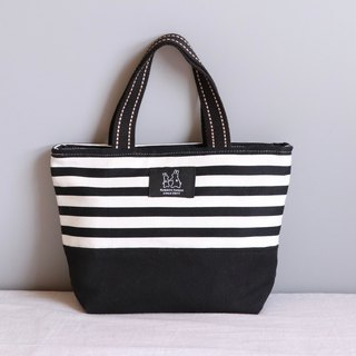 Striped black printed lightweight tote