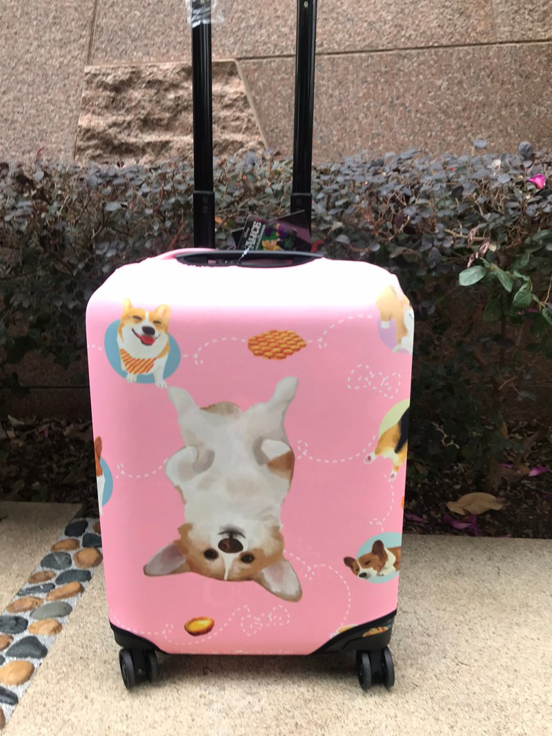 Printed Corgi with Hong Kong famous food luggage cover protector