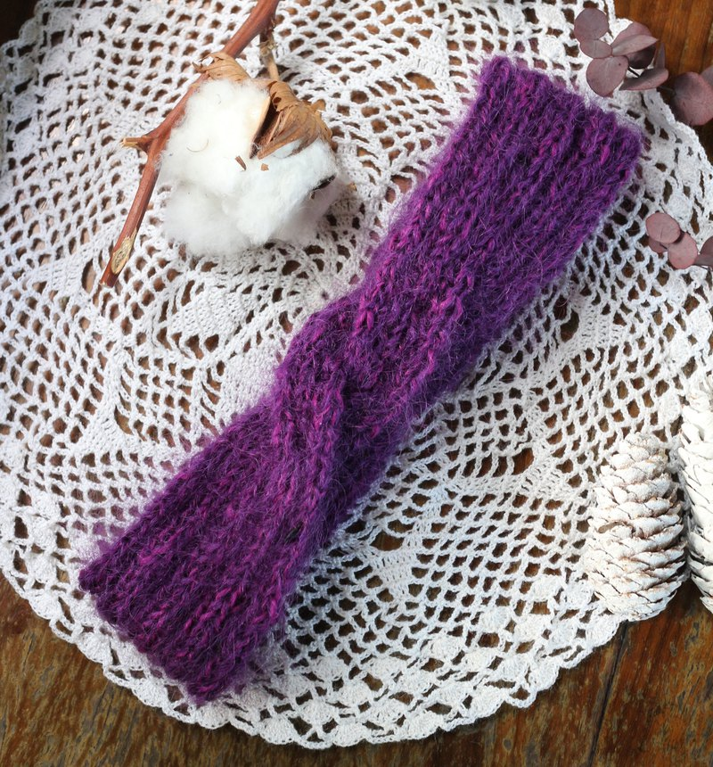 Handmade - Sweet Grape - Woolen Hair Braided Hairband