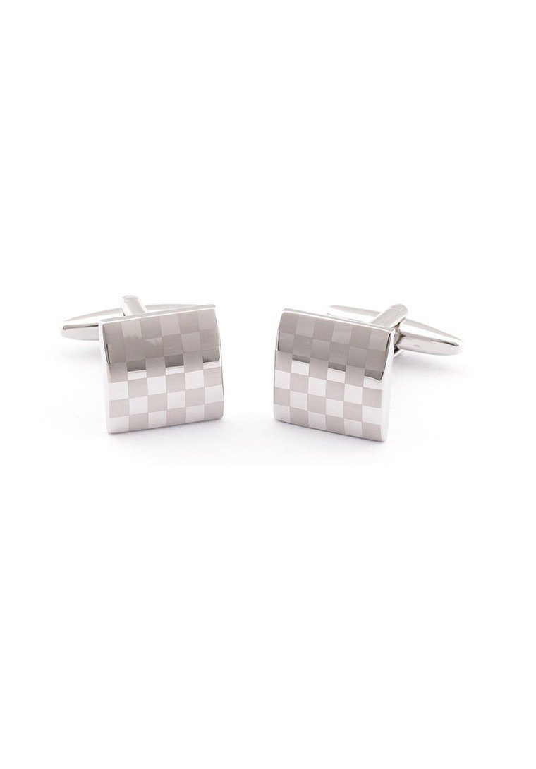 Kings Collection Elegant Silver Laser Cufflinks KC10029 Silver