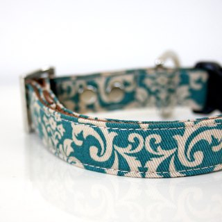 Mint Blue Damask Dog Collar- Silver