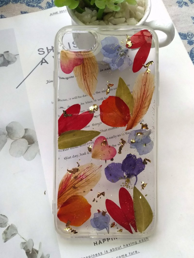 Pressed flowers phone case,  Spring colors