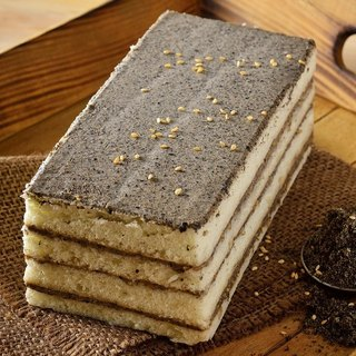 White angel black sesame cake