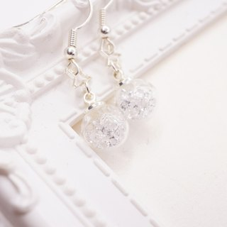 A Handmade white crystal balls Earrings
