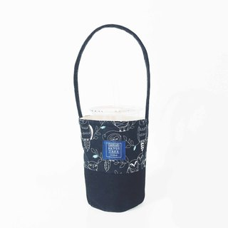 Drink bag - black line owl