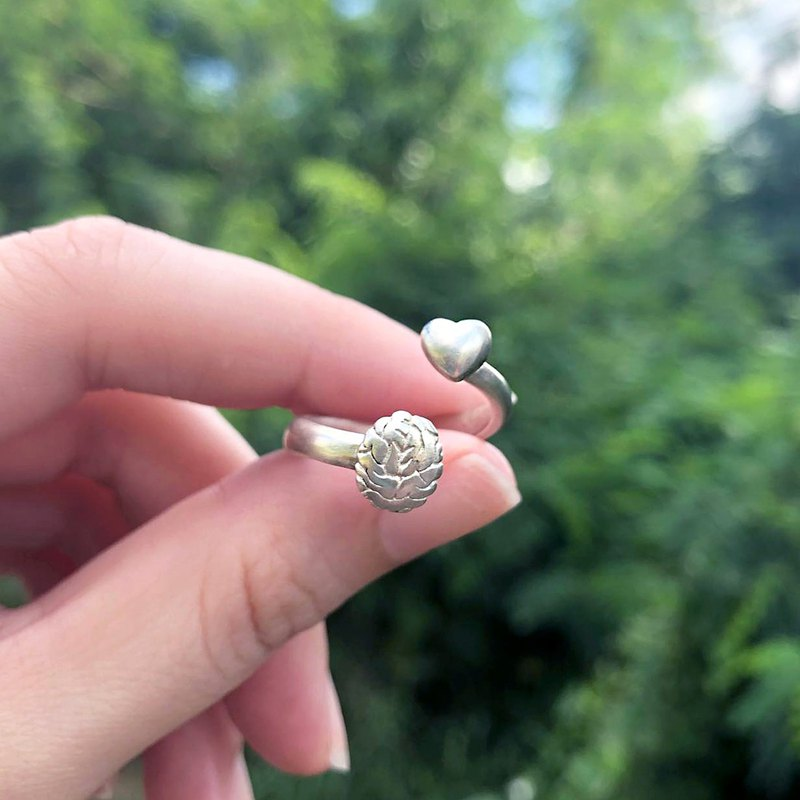 Sterling Silver Anatomical Brain & Heart Shaped Ring, Heart Ring, Brain Ring