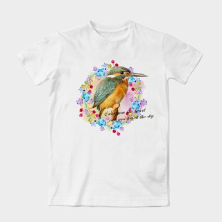 Neutral short-sleeved T-Shirt | flowers and birds by dragging artwork Wang | Z999UT025