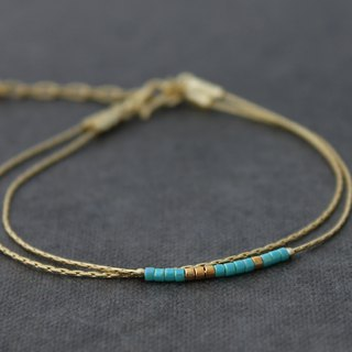 Gold Chain Bracelets With Turquoise Blue Miyuki Seed Beads