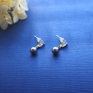 Ocean tears-zircon brass earrings