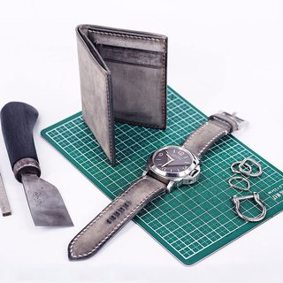 MOOS frosted surface gray vegetable tannery cowhide man hand sewing business simple short wallet short cloth